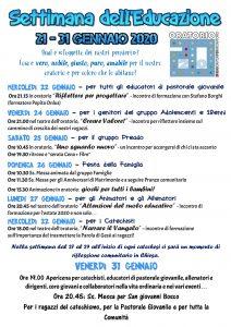 Locandina settimana dell'educazione 2020
