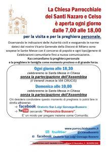 Locandina_Messe e visite alla Chiesa_per emergenza virus