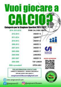 Locandina iscrizioni sport_vuoi giocare a CALCIO 2021
